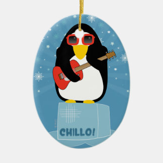 Cool Rockin' Penguin Says Chillo at Christmas Christmas Ornament