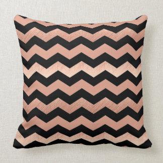 Cool Rose Gold & Black Chevron Design Throw Pillow