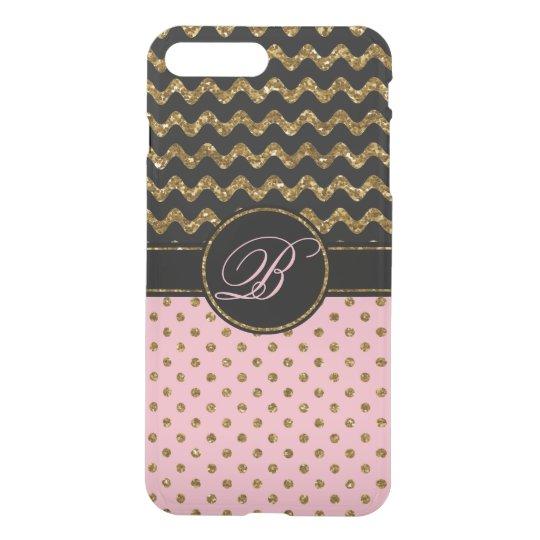 Cool Rose Gold Glitter Black Chevron Monogrammed, iPhone 8 Plus/7 Plus Case