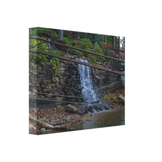 Cool Rustic Cascading Waterfall On Lake Shoreline Canvas Print