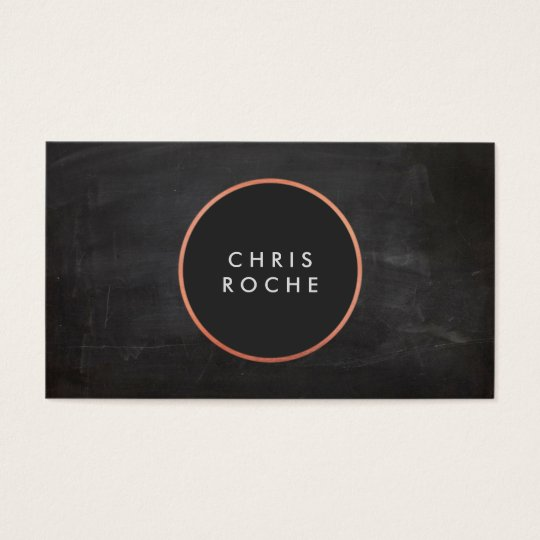 Cool Rustic Copper Circle Emblem Black Chalkboard Business Card