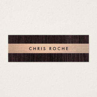 Cool Rustic Copper Stripe Bamboo Wood Mini Business Card