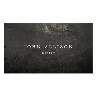 Cool Rustic Guy's Black Scratched Metal Pack Of Standard Business Cards