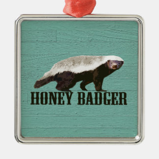 Cool Rustic Honey Badger Silver-Colored Square Decoration