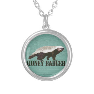Cool Rustic Honey Badger Silver Plated Necklace
