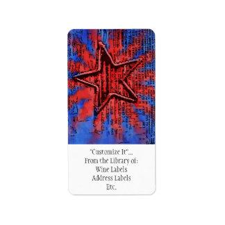 Cool Rustic Star Pop Art Print Label