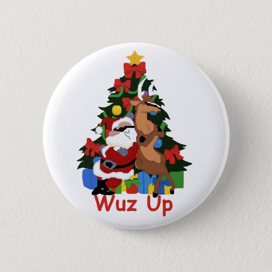 Cool Santa and Reindeer Button