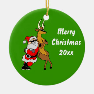 Cool Santa And Reindeer With Sunglasses Round Ceramic Decoration