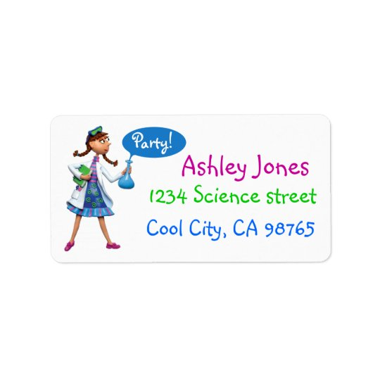 Cool Science Birthday Party for Girls Address Label