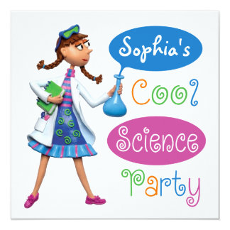 Cool Science Birthday Party for Girls Card