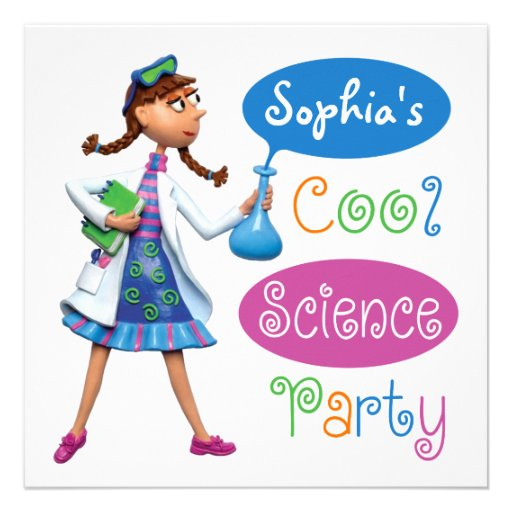 Cool Science Birthday Party for Girls Custom Invites