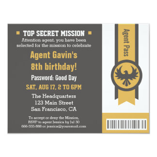 Cool Secret Agent Birthday Party 11 Cm X 14 Cm Invitation Card