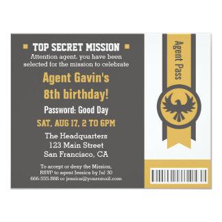 Cool Secret Agent Birthday Party 11 Cm X 14 Cm Invitation Card