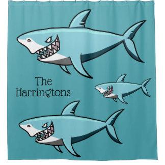 Cool Shark custom name shower curtain