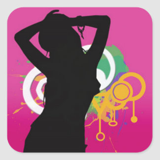 cool silhouette girl on colourful background square sticker
