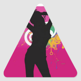 cool silhouette girl on colourful background triangle sticker