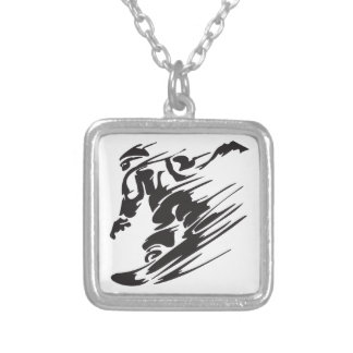 Cool Silhouette Snowboarding Mountain Necklace