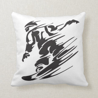 Cool Silhouette Snowboarding Mountain Pillow