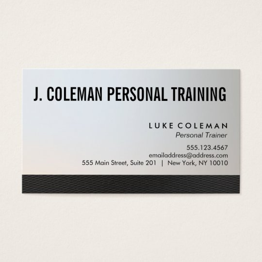 Cool Silver Black Personal Fitness Trainer Business Card