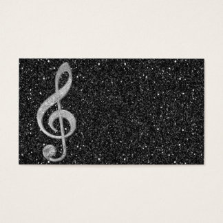 Cool silver glitter shining effects treble clef business card