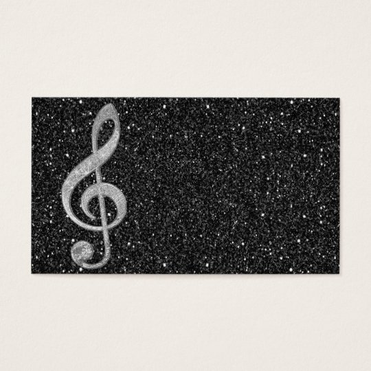 Cool silver glitter shining effects treble clef business
