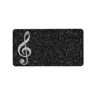 Cool silver glitter shining effects treble clef label