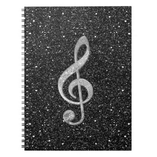 Cool silver glitter shining effects treble clef spiral note book