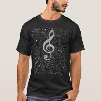 Cool silver glitter shining effects treble clef T-Shirt