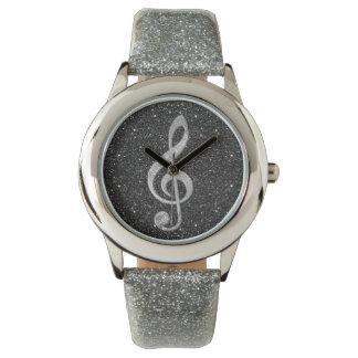 Cool silver glitter shining effects treble clef watch