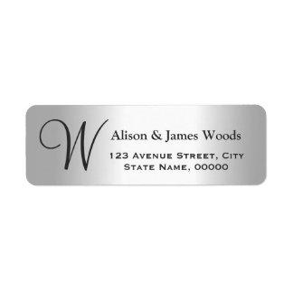 Cool Silver Metallic Look for Monogram Wedding Return Address Label