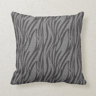 Cool Silver Zebra Print Pattern Pillow