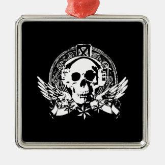 Cool Simple Elegant Classic Black White Skull Silver-Colored Square Decoration