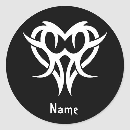 Cool Simple Elegant Classic Black White Tribal Classic Round Sticker