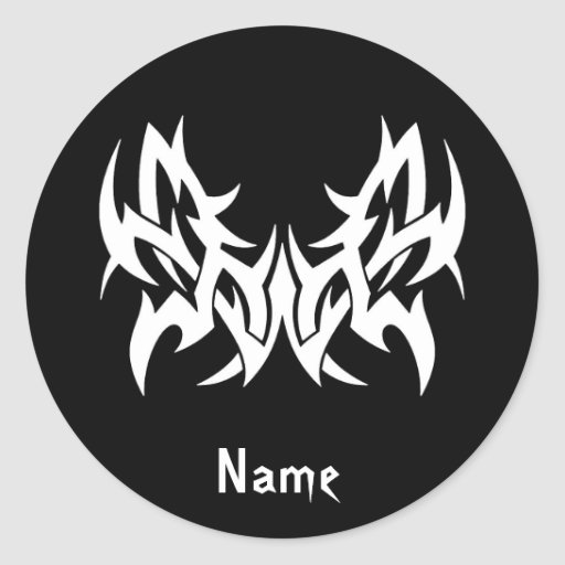 Cool Simple Elegant Classic Black White Tribal Round Sticker