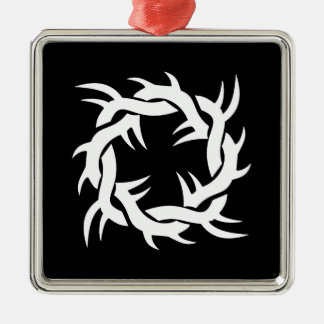Cool Simple Elegant Classic Black White Tribal Silver-Colored Square Decoration