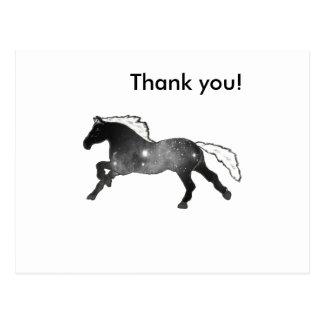 Cool Simple Horse Black and White Nebula Galaxy Postcard