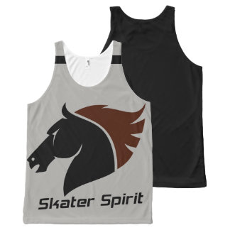 Cool Skate Unisex Tanktop with black strips All-Over Print Tank Top