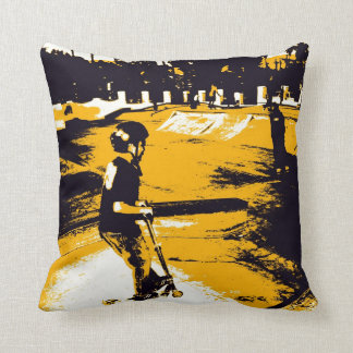 Cool Skateboard Park Scooter Grunge Art Pillow