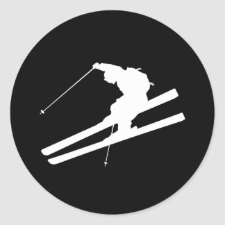 Cool skiing classic round sticker