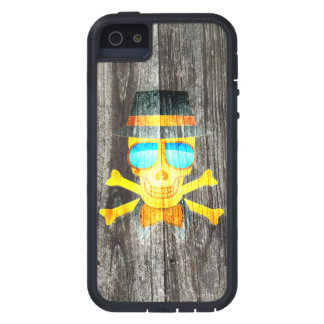 Cool Skull glasses hat wood grey background iPhone 5 Covers