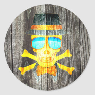 Cool Skull glasses hat wood grey background effect Classic Round Sticker