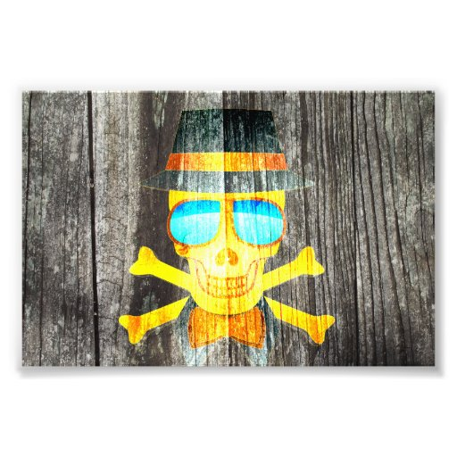 Cool Skull glasses hat wood grey background Photograph