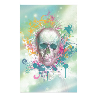 cool skull splatters swirls vintage floral frame customised stationery