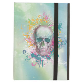 cool skull splatters swirls vintage floral frame iPad air cover