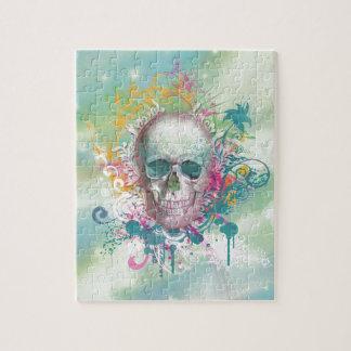 cool skull splatters swirls vintage floral frame puzzle