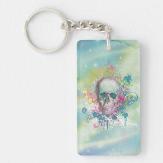cool skull splatters swirls vintage floral frame Single-Sided rectangular acrylic key ring
