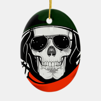 cool skull with sunglasses and helmet ceramic oval decoration
