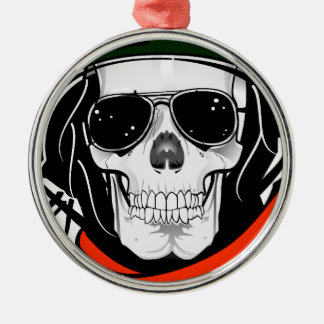 cool skull with sunglasses and helmet christmas ornament