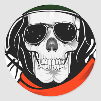 cool skull with sunglasses and helmet classic round sticker