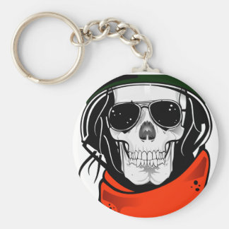cool skull with sunglasses and helmet keychain